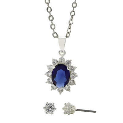Sparkle Allure™ Blue Glass & Cubic Zirconia Earring and Pendant Necklace Set