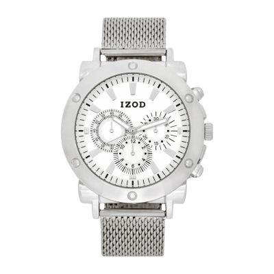 IZOD Mens Silver Tone Strap Watch-Izo5079jc