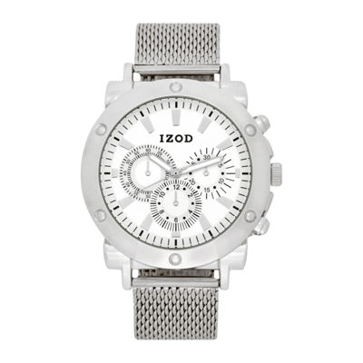 IZOD Mens Silver Tone Strap Watch-Izo5079jc
