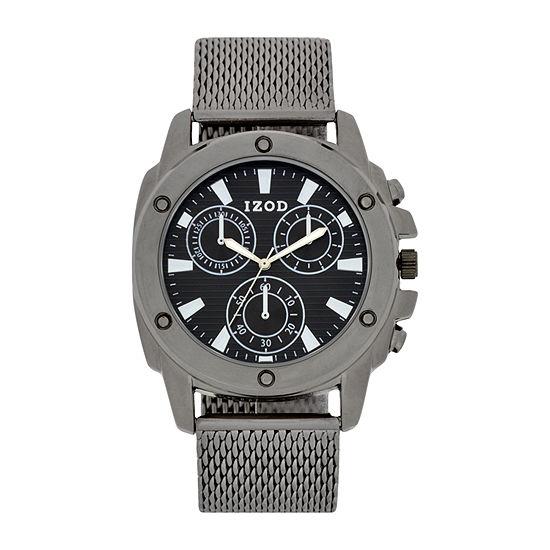 IZOD Mens Gray Strap Watch-Izo5148jc
