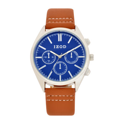 IZOD Mens Brown Strap Watch-Izo8038jc