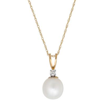 Sofia Womens Diamond Accent Genuine White Cultured Freshwater Pearl 14K Gold Pendant Necklace