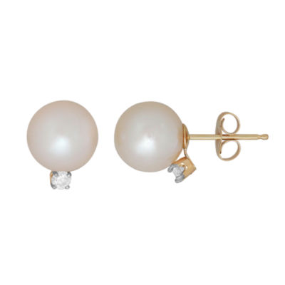 Sofia 1/10 CT. T.W. Genuine White Pearl 14K Gold 10.2mm Stud Earrings