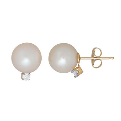 Sofia 1/10 CT. T.W. Genuines White Cultured Freshwater Pearl 14K Gold 10.2mm Stud Earrings