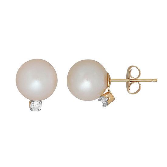 Sofia Sofia 1/10 CT. T.W. Genuine White Cultured Freshwater Pearl 14K Gold 10.2mm Stud Earrings
