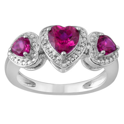 Womens Diamond Accent Lab Created Red Ruby Sterling Silver Heart 3-Stone Band