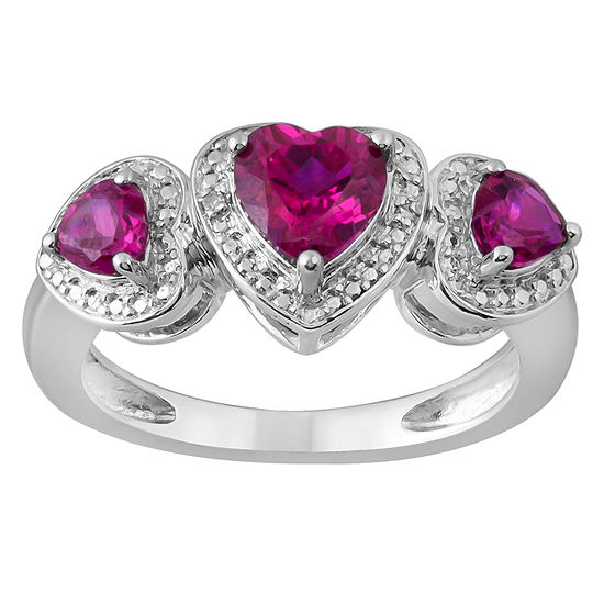 Diamond Accent Lab Created Red Ruby Sterling Silver Heart 3-Stone Band