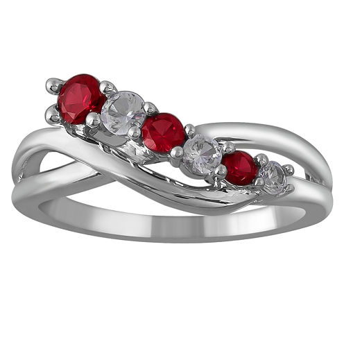 Limited Quantities! Womens Lab Created Red Ruby Sterling Silver Crossover Ring