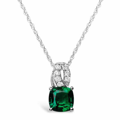 Womens Green Lab-Created Emerald Sterling Silver Pendant Necklace