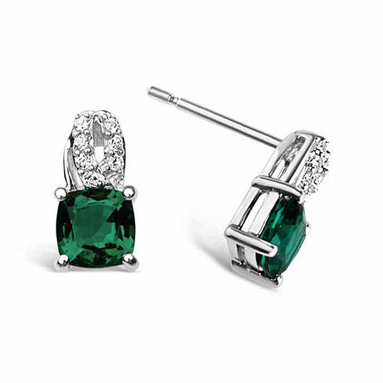 Lab-Created Emerald & Lab-Created White Sapphire Sterling Silver Drop Earrings