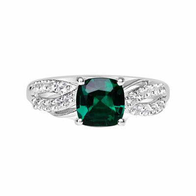 Womens Lab Created Emerald & Lab-Created White Sapphire Sterling Silver Cocktail Ring