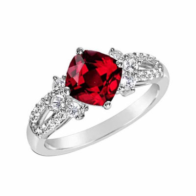 Womens Lab-Created Ruby & Lab-Created White Sapphire Sterling Silver Cocktail Ring