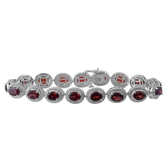 Genuine Garnet & Diamond Accent Sterling Silver Bracelet