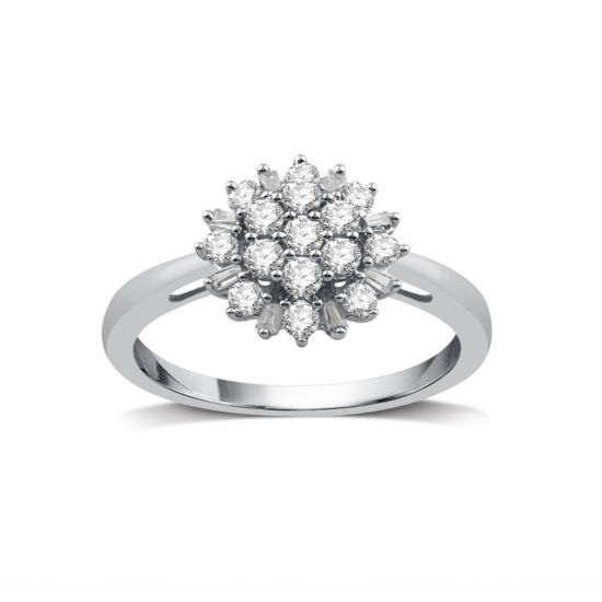 Fine Jewelry Diamond Blossom Womens 1 1/2 CT. T.W. White Diamond 10K Gold Cocktail Ring