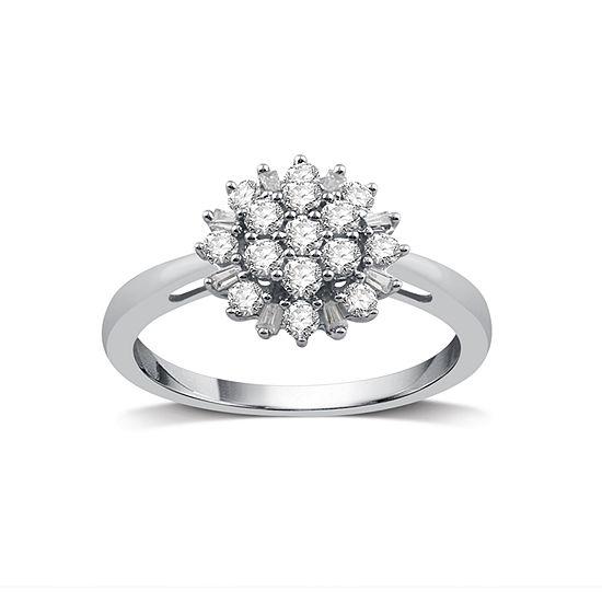 Diamond Blossom Womens 1/2 CT. T.W. Genuine White Diamond 10K Gold Cocktail Ring