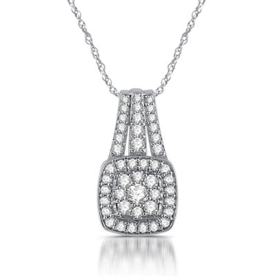 Diamond Blossom Womens 1 CT. T.W. Genuine White Diamond 10K Gold Round Pendant Necklace