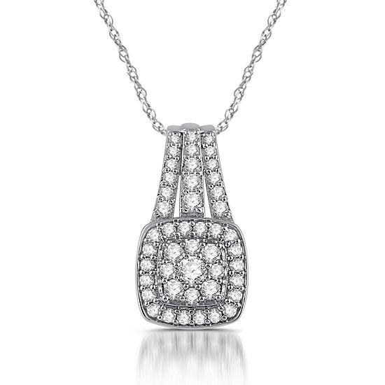 Diamond Blossom Womens 1 CT. T.W. Genuine White Diamond 10K Gold Round Pendant Necklace