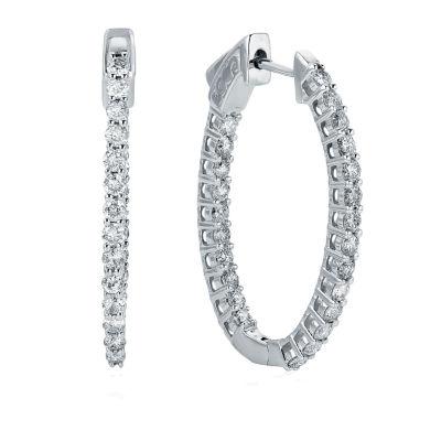 1 CT. T.W. GENUINE White Diamond 10K GOLD 27.3mm Hoop Earrings