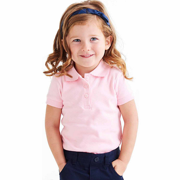 French Toast Short Sleeve Interlock Polo With Picot Collar - Big Kid Girls