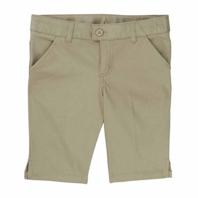 French Toast Adjustable Waist Slim Fit Twill Bermuda Shorts - Big Kid Girls