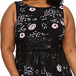 Danny & Nicole-Plus Sleeveless Floral Fit & Flare Dress