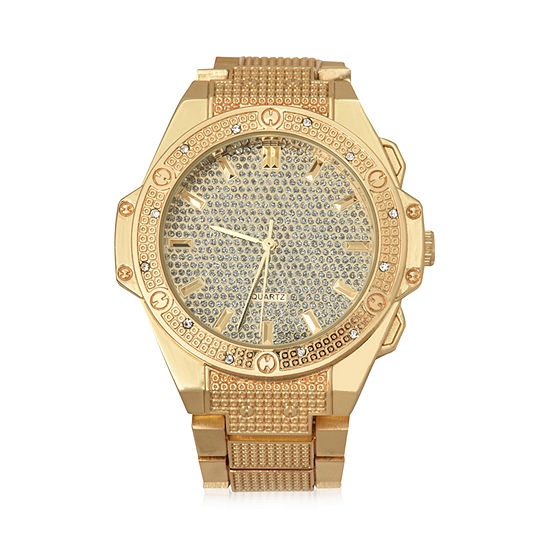Geneva Mens Gold Tone Bracelet Watch-Mac8043jc