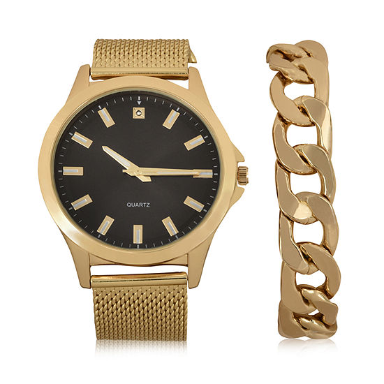 Geneva Mens Gold Tone 2-pc. Watch Boxed Set-Mac7039jc