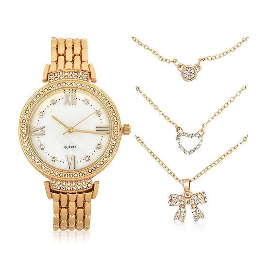 Mixit Womens Gold Tone 4-pc. Watch Boxed Set-Wac7205jc