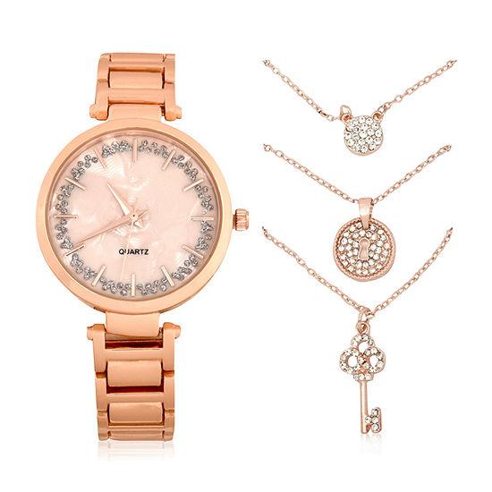 Mixit Womens Rose Goldtone 4 Pc Watch Boxed Set Wac7207jc