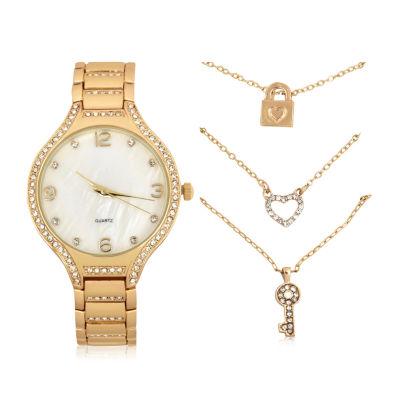 Mixit Womens Gold Tone 4-pc. Watch Boxed Set-Wac7208jc