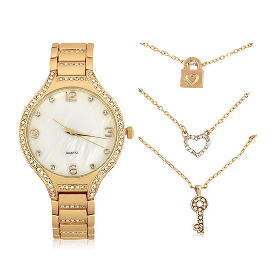 Mixit Womens Gold Tone 4-pc. Watch Boxed Set-Wac7208jc