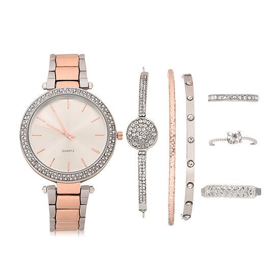 Mixit Womens Two Tone Watch Boxed Set-Wac7211jc