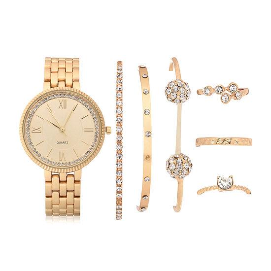 Mixit Womens Gold Tone 7-pc. Watch Boxed Set-Wac7212jc