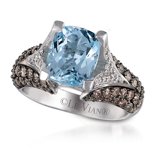 LIMITED QUANTITIES! Le Vian Grand Sample Sale™ Ring featuring Sea Blue Aquamarine®, Chocolate Diamonds®, & Vanilla Diamonds® set in 14K Vanilla Gold® - SIZE 7