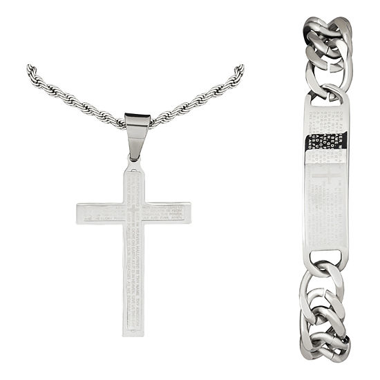 Mens Lord's Prayer 2-PC Stainless Steel Cross Necklace and ID bracelet Jewerly Set