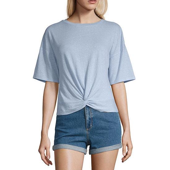 Arizona-Womens Round Neck Short Sleeve T-Shirt Juniors