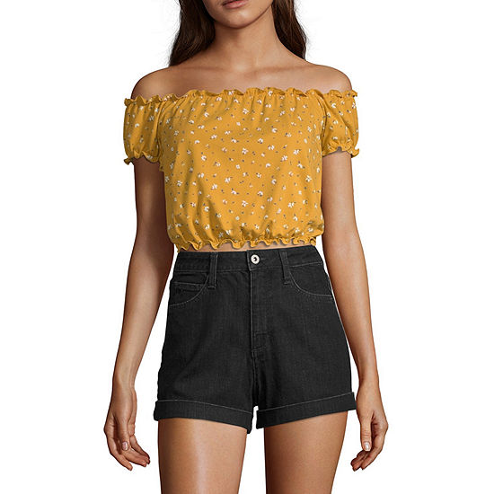 Arizona Womens Straight Neck Short Sleeve Crop Top-Juniors