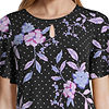 Liz Claiborne S19 Aprl Ss Angel Slv Ity Top Womens Keyhole Neck Short Sleeve Knit Blouse