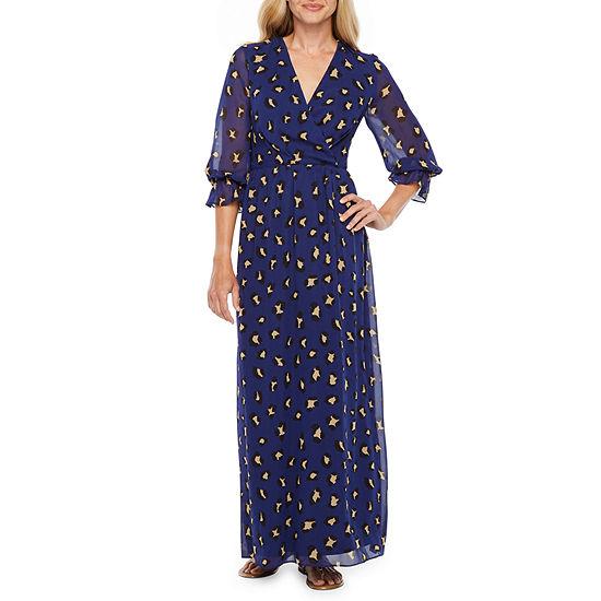 Chelsea Rose 3 4 Sleeve Animal Maxi Dress