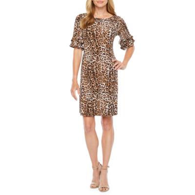 Ronni Nicole Short Bell Sleeve Animal Sheath Dresses