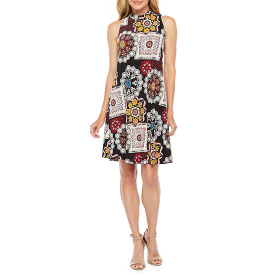 Robbie Bee Sleeveless Patchwork Puff Print Swing Dresses