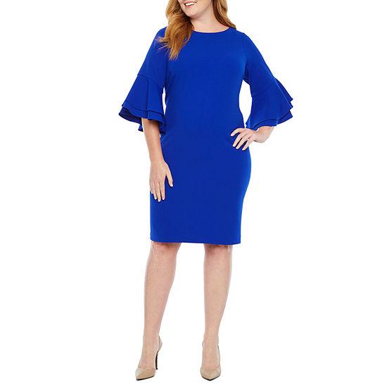 Liz Claiborne Short Tiered Sleeve Sheath Dress-Plus