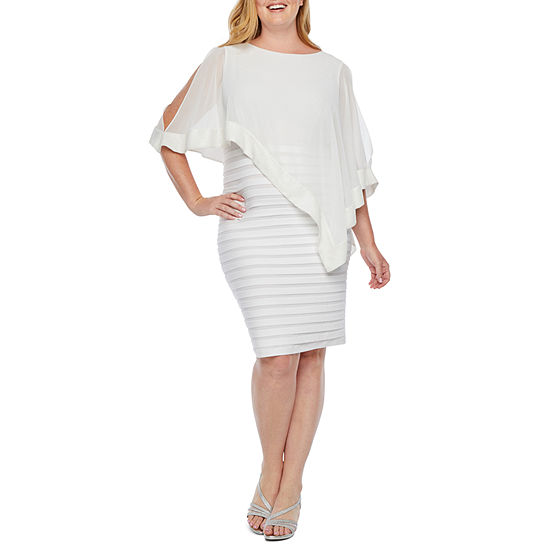 Scarlett 3/4 Sleeve Sequin Trim Cape Sheath Dress-Plus