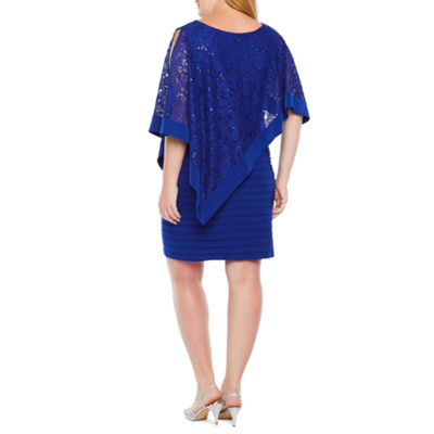 Scarlett 3/4 Sleeve Lace Cape Sheath Dress-Plus