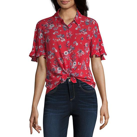 Rewind Womens Crew Neck Short Sleeve Camp Shirt-Juniors