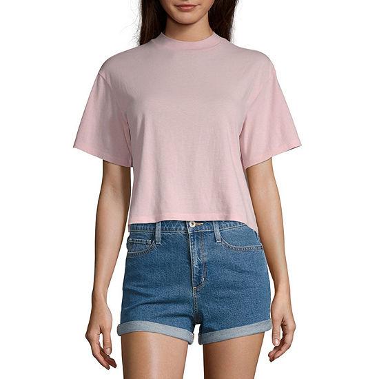 Arizona Juniors-Womens Mock Neck Short Sleeve T-Shirt