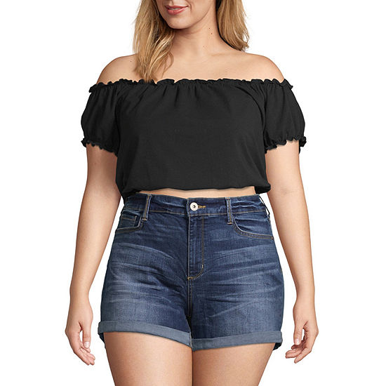Arizona Womens Straight Neck Short Sleeve Crop Top-Juniors Plus