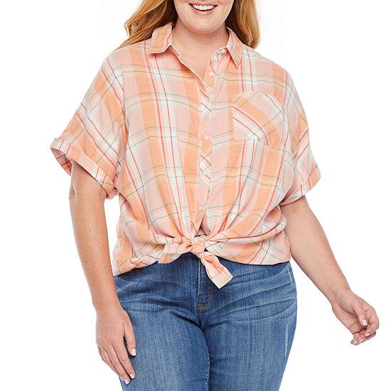 a.n.a Womens Short Sleeve Button-Front Shirt-Plus