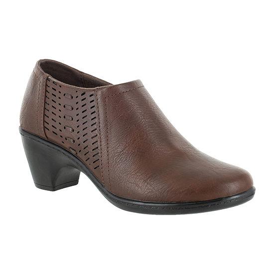 Easy Street Womens Notch Booties Block Heel