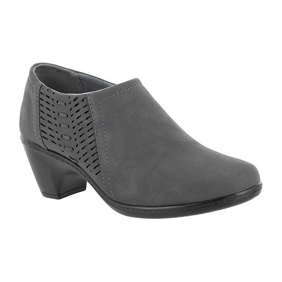 Easy Street Womens Notch Booties Block Heel